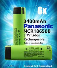 6x Panasonic NCR 18650 B 3.7V 3400mAh Li-Ion Lithium Rechargeable Battery