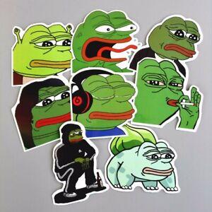 8 Pcs New Pepe the Frog Decal Stickers Lot Internet Meme Art Design Car Sticker