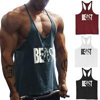 """Men's Gym Workout Printed """"BEAST"""" Tank Top Y Back Fitness Bodybuilding Stringer"""