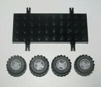 Lego ® Lot x4 Roue Jante Pneu Tire Car Wheel + Chassi Voiture Noir 30076 + 6014