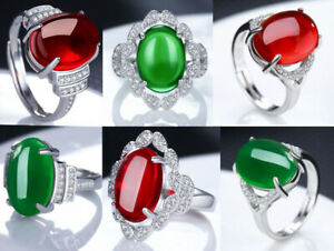 Platinum Plated Various Style Green/Red Agate Stone Open Band SZ Adjustable Ring