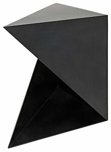 """28.5"""" L Set of Two Triangle Side Table Angular Hand Forged Steel Contemporary"""
