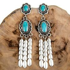 Navajo Turquoise Earrings Sterling Silver LONG Feather Dangles Old Pawn Style