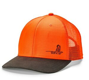 Orvis Mesh Back Blaze Orange Pheasant Logo Hunting Cap 2NXR