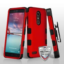 Titanium Red Military Grade Black Holster Phone Case Cover for ZTE Blade X Max