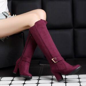 Women Knee High Knight Boots Block Heels Side Zip Faux Suede Knight Shoes Size