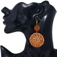 Round Rattan Straw Weave Drop Earrings Fashion Jewelry Geometric Earrings