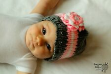 Hand Knitted Little Girls Hat with Flower, Gender Reveal Prop, 0 to 6 months