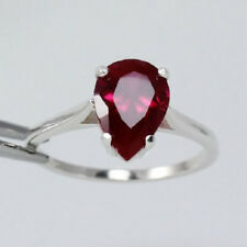 2.00 Ct Diamond Pear Cut Engagement Wedding Ring Ruby Red 14K White Gold Over