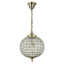 Stile Marocchino TANARO Ottone Antico & Cristallo Elettrico Ciondolo Luce Da Soffitto