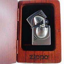 ZIPPO Feuerzeug DRAGON EGG Satin Chrome TRICK Zippo in Rosenholzbox NEU