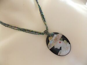 Gorgeous Art Deco Inspired Inlaid Shell in Resin Pendant Necklace