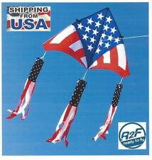 "Delta Kite USA Levitation 84""x 43"" + RipStop Nylon + Line + 3-USA Windsock Tails"