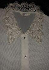 Edle Designer-Bluse Weiß mit Strickerei Kragen, 40-42