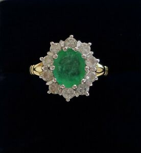 Fine Emerald and Diamond Cluster Ring 750 (18ct) Yellow Gold - Size M 1/2