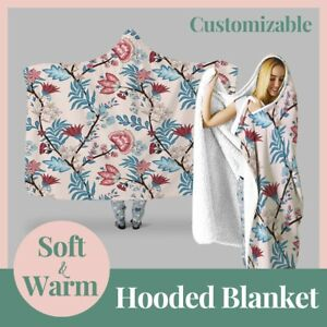 Personalized Embroidery Botanic Floral Hooded Throw Blanket Fleece Hoodie Cape