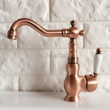 Antique Red Copper Swivel Spout Bathroom Basin Faucet Ceramic Handle Taps tnf405