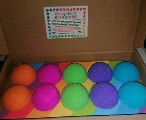 Colourful Bath Bombs - Rainbow Colours - CANDY HEARTS - 10x 22g