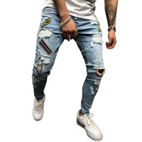 Men Destroyed Stretchy Ripped Pants Denim Jeans Slim Fit  Fashion Patch Trousers