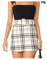 Floerns Women's Plaid Skirt High Waist Belted Bodycon Mini Skirt Black and White