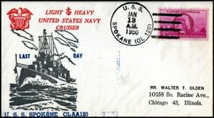 USA 1950 United States Navy Cruiser USS Spokane CLAA120 Last Day of Service