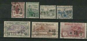 LOT FRANCE 1922 : SEMI POSTAL SET(7) ORPHELIN DE LA GUERRE 2c-1fr : START $ 1.00