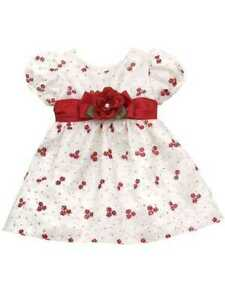 Rare Editions Holiday Ivory & Red Flower Dress Set  18 Months
