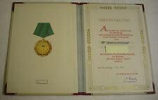 MDI, Urkunde zur Medaille für Treue Dienste Stufe II 1956