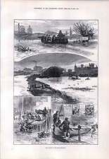 1876 Floods In The East Midlands Peterboro Nottingham Colliery Saving  Poultry