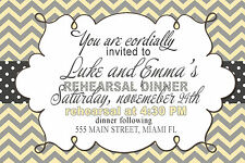 30 Invitations Rehearsal Dinner or Any Event Chevron Grey Yellow Personalized A1