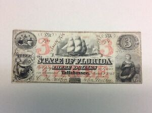 1863 $3 State of Florida - Scarce Denomination Civil War Era Confederate Note