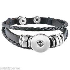 5 Bracelet Breloque Multilayer Cuir PU Noir pr Bouton Pression DIY 21cm