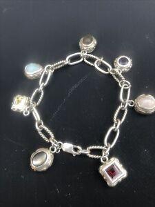 Vintage Sterling Silver Charm Bracelet w/ Charms Semi Precious Stones