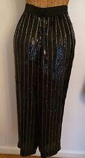 Vintage Black Sequin Silver Bead Sheer Wide Leg Palazzo Pants Germany 38