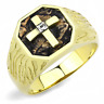 GOLD CROSS MENS  STAINLESS STEEL MANS PINKY SIMULATED DIAMOND RING SIGNET BROWN