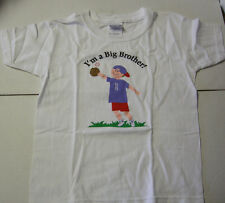 Big Brother Playing Ball T-Shirt, Size Extra Small (2-4), White, Brand New