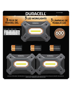 DURACELL 3-Pack LED 600 Lumen Worklight with 9PCS AA Battries