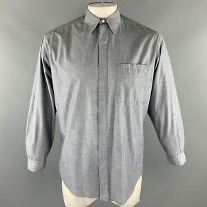 Vintage V2 by VERSACE Size M Gray Cotton Patch Pocket Long Sleeve Shirt