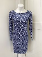 Vineyard Vines Blue Wavy Whale Tail Cotton Knit Long Sleeve Women's Dress Small