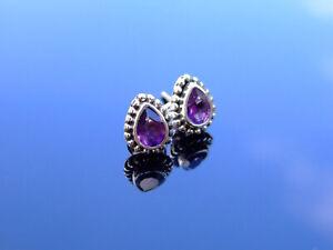 Amethyst Natural Gemstone 925 Sterling Silver Tear Earrings Quartz Healing Stone