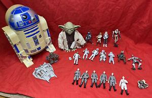Vintage Star Wars Job lot Hasbro Figures, Interactive Yoda R2D2 Storage Case
