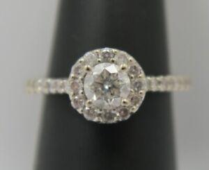 14K White Gold ~ 1.00 Carat DIAMOND HALO Engagement Ring ~ VERY PRETTY Size 5.25