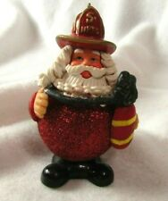 Santa fire fighter with hose Glitter NFPD Christmas Tree ornament