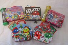 M&M Metal Tins Lot Of 5 mini Lunchboxes, mint
