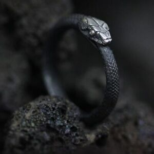 2021 Punk Style Serpentine  Live Mouth Ouroboros Ring Stainless Steel