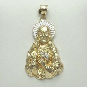 14K Two Tone Gold Large 3D Sacred Heart Jesus Medal Charm Pendant 6gr