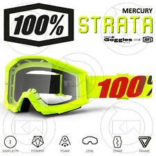 MASCHERA 100% STRATA MX OCCHIALI MOTOCROSS MERCURY LENTE ANTI-FOG TRASPARENTE