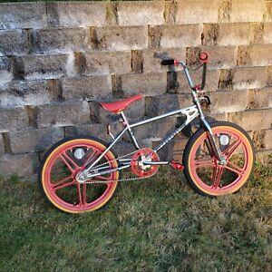 "Vintage 1983 Schwinn Predator Cr-Mo Mag Coaster 20"" BMX Chrome Red HTF"