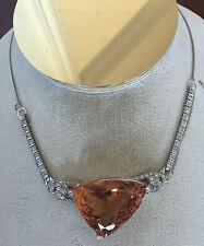Huge GIA certified IF Flawless 64.2ct Morganite platinum Diamond Choker Necklace