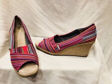 TOMS WEDGE PEEPTOE HEELS SHOES SZ 11 M